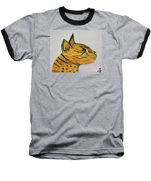 Baseball T-Shirt featuring the painting Bengal Cat  by Mindy Bench