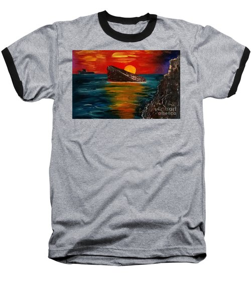 Baseball T-Shirt featuring the painting Benidorm by Jeepee Aero