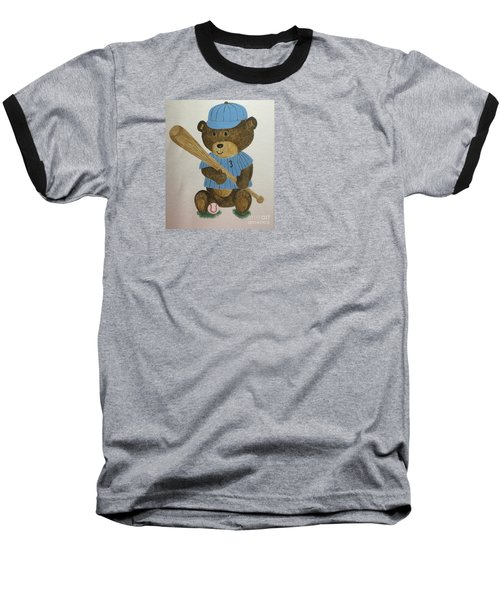 Baseball T-Shirt featuring the painting Benny Bear Baseball by Tamir Barkan