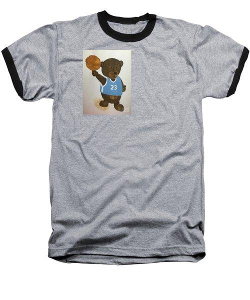 Baseball T-Shirt featuring the painting Benny Bear Basketball  by Tamir Barkan