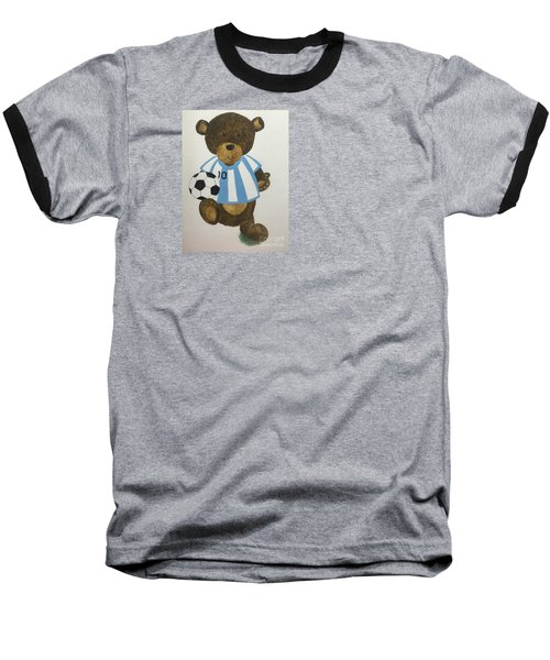 Baseball T-Shirt featuring the painting Benny Bear Soccer by Tamir Barkan