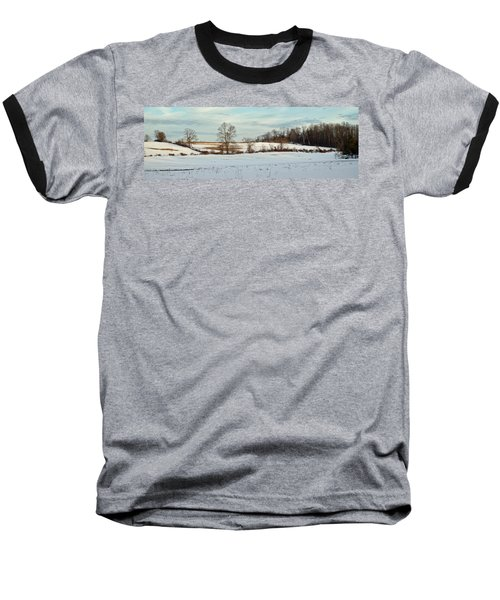 Berkshire Meadow - Winter Panoramic Baseball T-Shirt