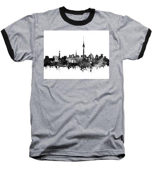 Berlin City Skyline Black And White Baseball T-Shirt by Bekim Art