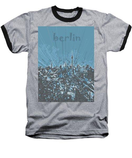Berlin City Skyline Map 3 Baseball T-Shirt by Bekim Art