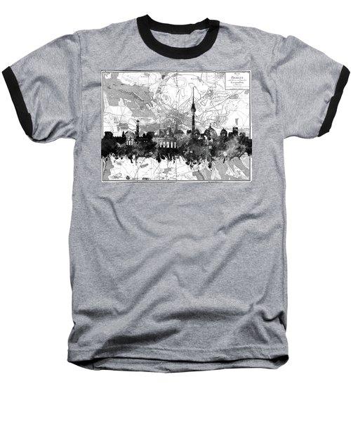 Berlin City Skyline Vintage 2 Baseball T-Shirt by Bekim Art