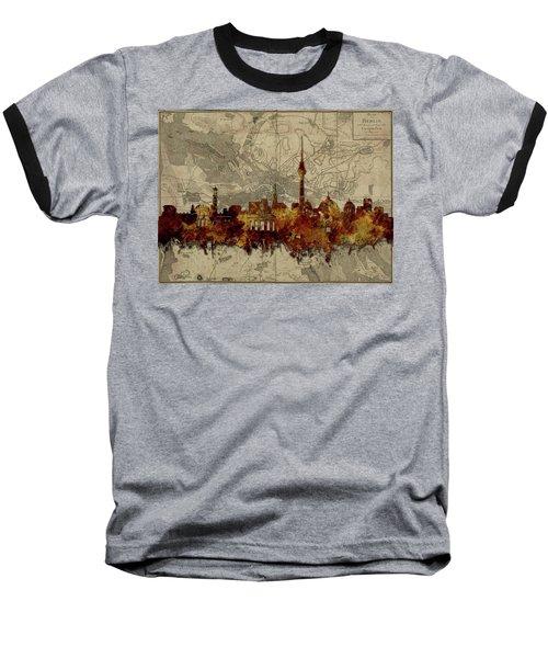 Berlin City Skyline Vintage Baseball T-Shirt by Bekim Art