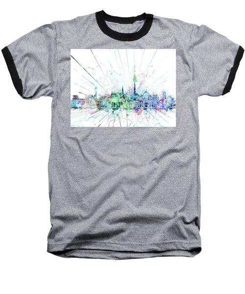 Berlin City Skyline Watercolor 3 Baseball T-Shirt by Bekim Art