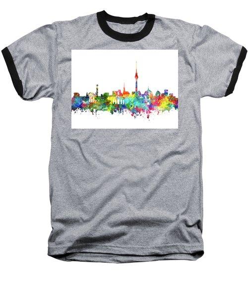 Berlin City Skyline Watercolor Baseball T-Shirt by Bekim Art