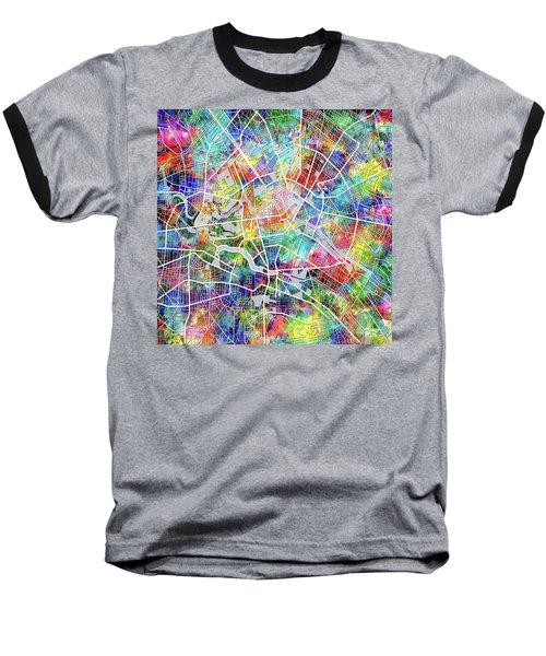 Berlin Map Watercolor Baseball T-Shirt by Bekim Art