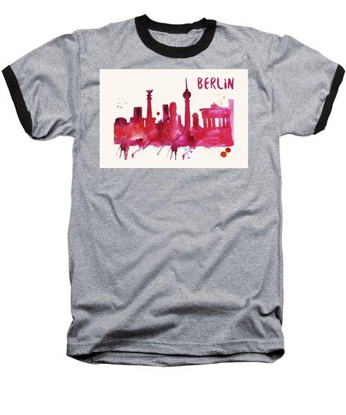 Berlin Skyline Watercolor Poster - Cityscape Painting Artwork Baseball T-Shirt