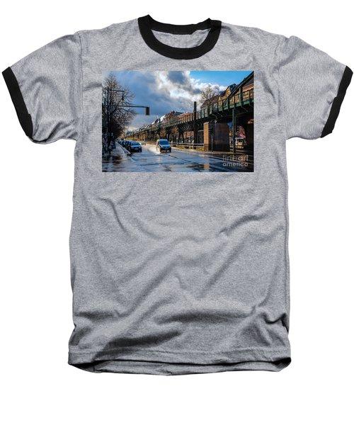 Baseball T-Shirt featuring the photograph Berlin Street After Rain by Jivko Nakev