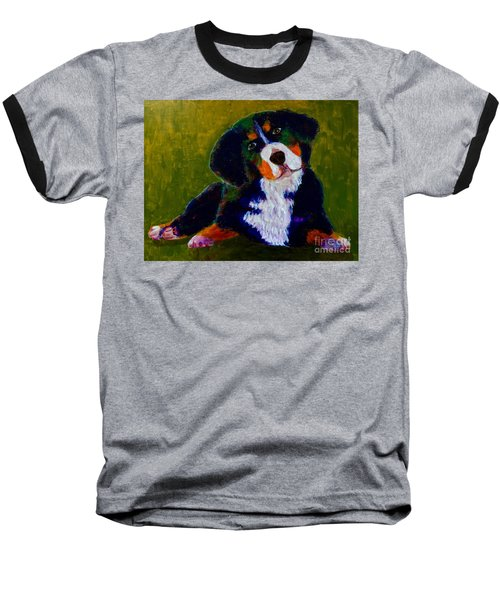 Baseball T-Shirt featuring the painting Bernese Mtn Dog Puppy by Donald J Ryker III