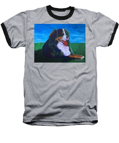 Baseball T-Shirt featuring the painting Bernese Mtn Dog Resting On The Grass by Donald J Ryker III