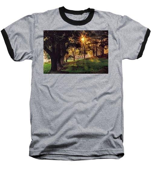 Bernharts Dam Fog 001 Baseball T-Shirt by Scott McAllister