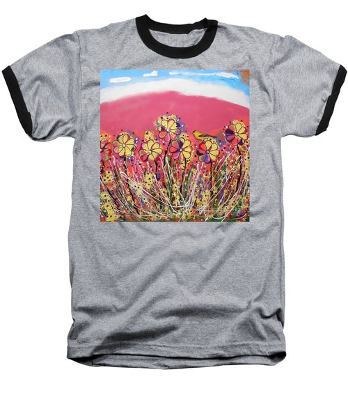 Berry Pink Flower Garden Baseball T-Shirt