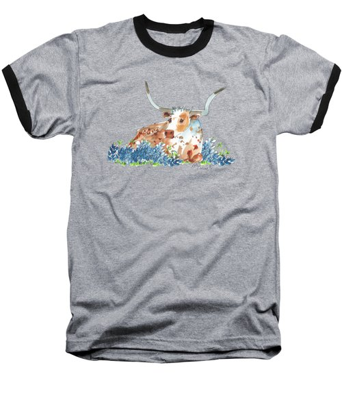 Bessie In The Bluebonnets Watercolor Painting By Kmcelwaine Baseball T-Shirt