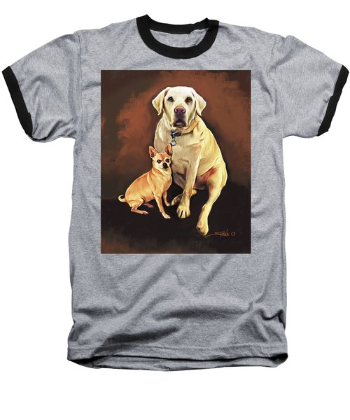 Best Friends By Spano Baseball T-Shirt by Michael Spano