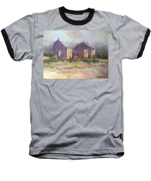 Baseball T-Shirt featuring the pastel Bethel School At Sunset by Rebecca Matthews