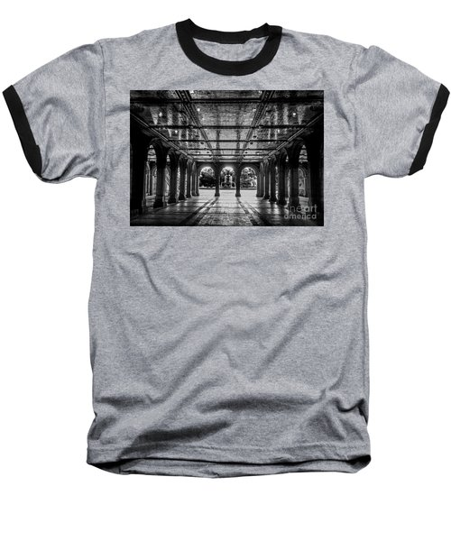 Bethesda Terrace Arcade 2 - Bw Baseball T-Shirt