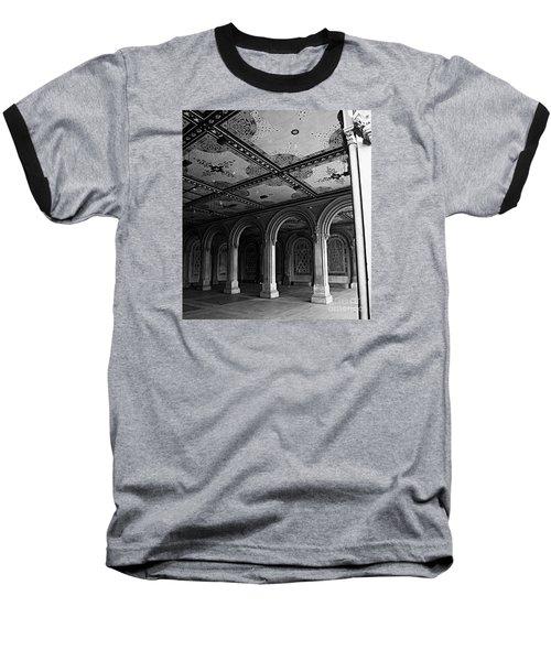 Bethesda Terrace Arcade In Central Park - Bw Baseball T-Shirt by James Aiken