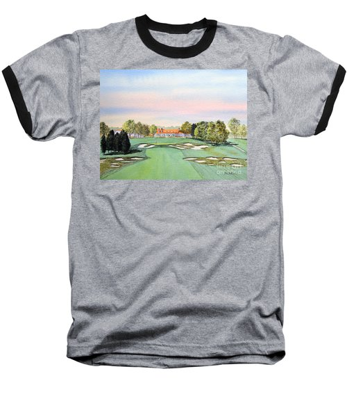 Baseball T-Shirt featuring the painting Bethpage State Park Golf Course 18th Hole by Bill Holkham