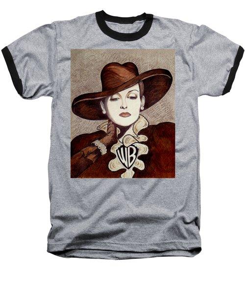 Bette Davis The Warner Brothers Years Baseball T-Shirt by Tara Hutton