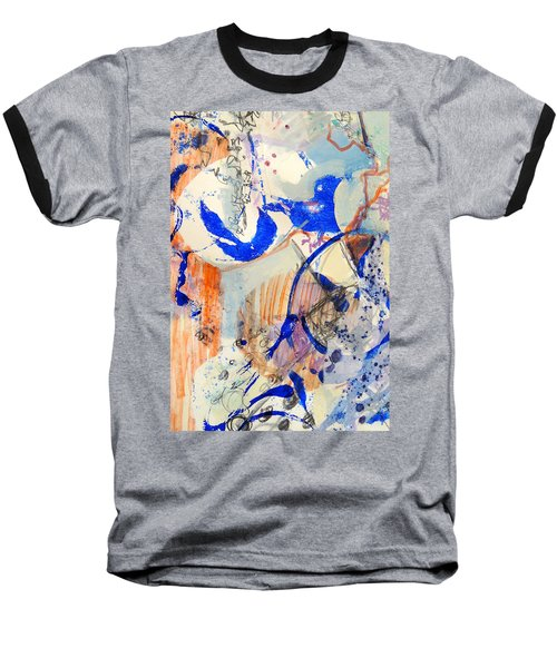 Baseball T-Shirt featuring the mixed media Between Branches by Mary Schiros