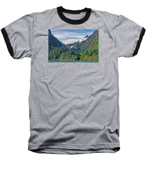 Between The Peaks Baseball T-Shirt by Lewis Mann