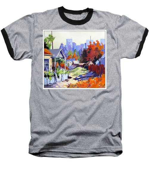 Baseball T-Shirt featuring the painting Beyond The City Limits by Rae Andrews