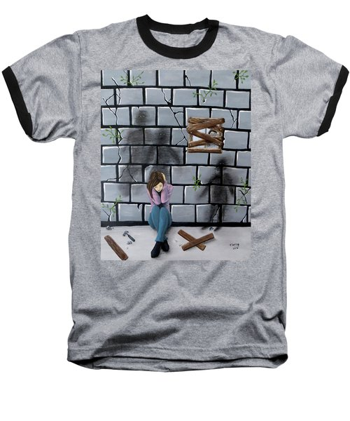 Baseball T-Shirt featuring the painting Beyond The Wall by Teresa Wing