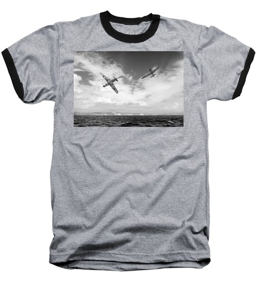 Baseball T-Shirt featuring the photograph Bf109 Down In The Channel Bw Version by Gary Eason