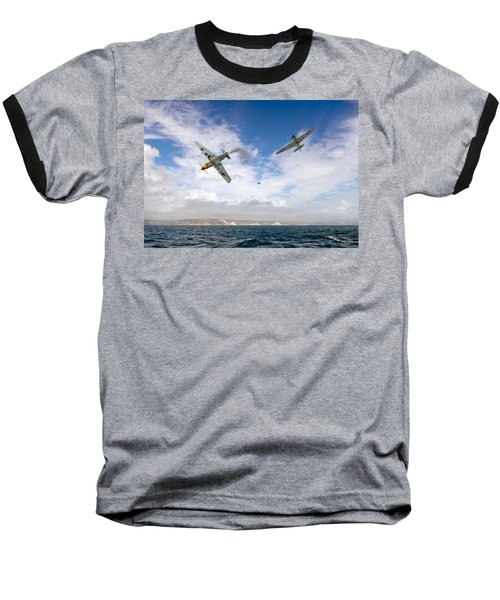 Baseball T-Shirt featuring the photograph Bf109 Down In The Channel by Gary Eason