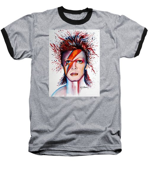 Baseball T-Shirt featuring the painting Bi Bi Bowie by Maria Barry