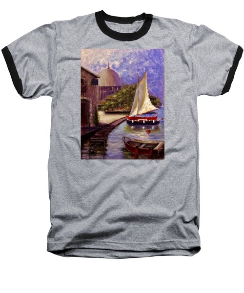 Baseball T-Shirt featuring the painting Bienvenue A Yvoire.. by Cristina Mihailescu