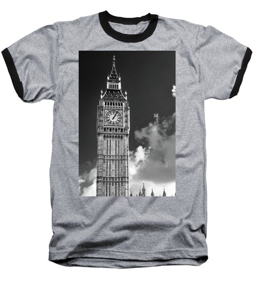 Big Ben And Clouds Bw Baseball T-Shirt