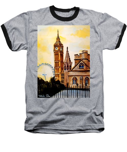 Big Ben And London Eye - Art By Dora Hathazi Mendes Baseball T-Shirt by Dora Hathazi Mendes