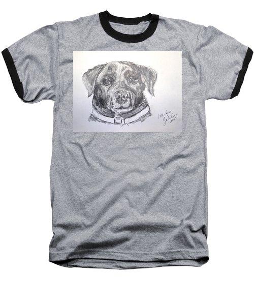 Big Black Dog Baseball T-Shirt by Marilyn Zalatan
