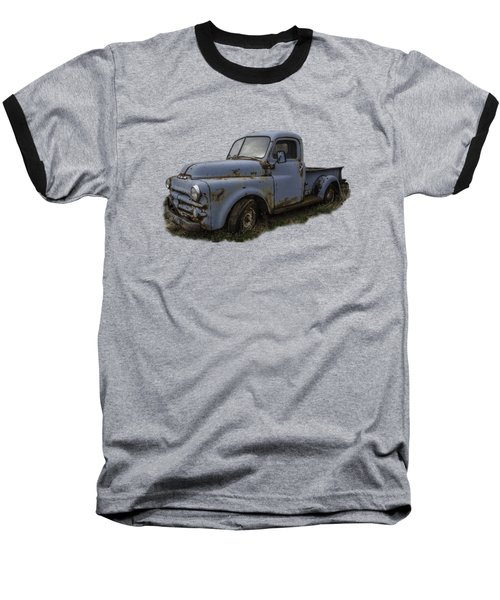 Big Blue Dodge Alone Baseball T-Shirt by Debra and Dave Vanderlaan