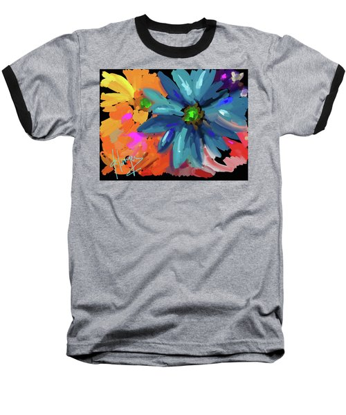 Big Blue Flower Baseball T-Shirt