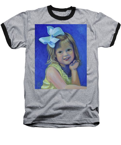 Big Bow Little Girl Baseball T-Shirt