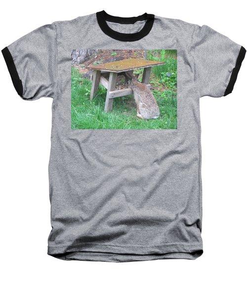 Big Eyed Rabbit Eating Birdseed Baseball T-Shirt by Betty Pieper
