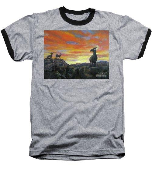 Big Horn Sheep At Sunset Baseball T-Shirt