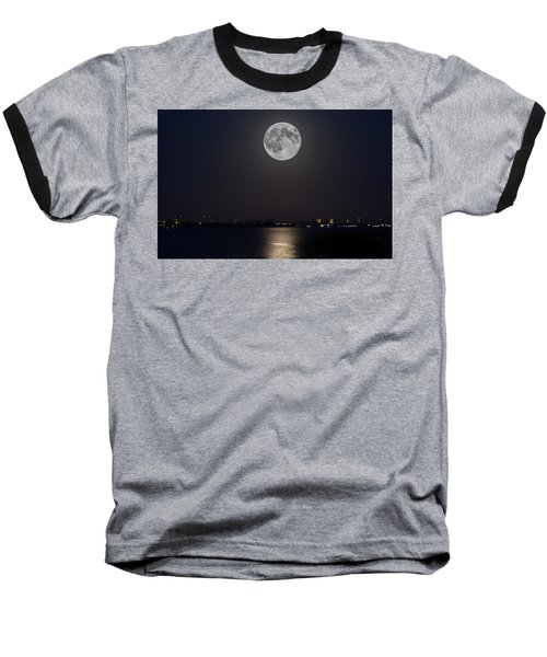 Big Moon Over The Bay Baseball T-Shirt