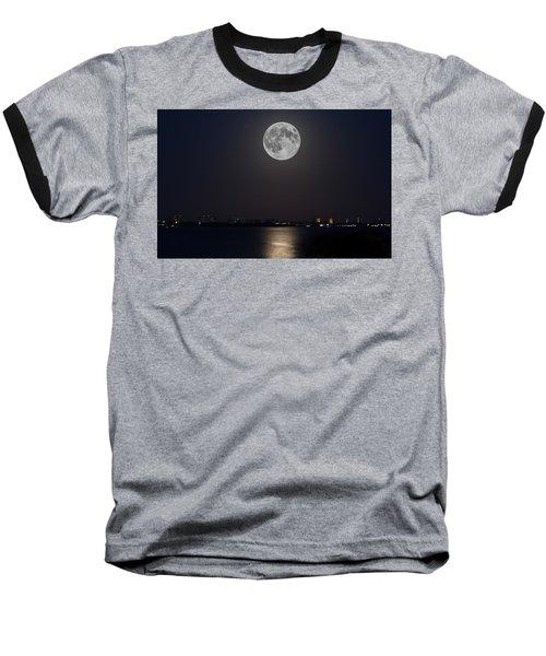 Big Moon Over The Bay Baseball T-Shirt