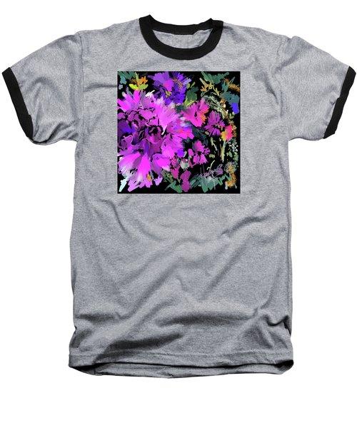 Big Pink Flower Baseball T-Shirt by DC Langer