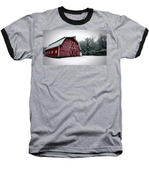 Big Red Barn In Snow Baseball T-Shirt