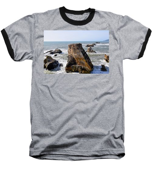 Baseball T-Shirt featuring the photograph Big Rocks In Grey Water by Barbara Snyder