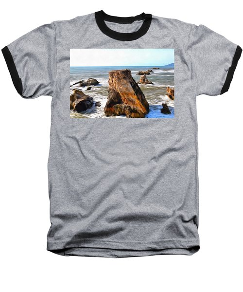 Baseball T-Shirt featuring the photograph Big Rocks In Grey Water Painting by Barbara Snyder
