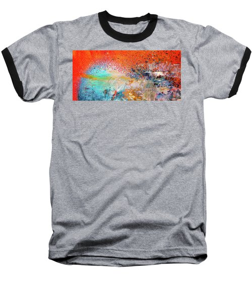 Big Shot - Orange And Blue Colorful Happy Abstract Art Painting Baseball T-Shirt