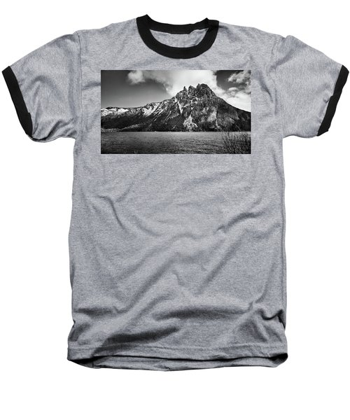 Big Snowy Mountain In Black And White Baseball T-Shirt